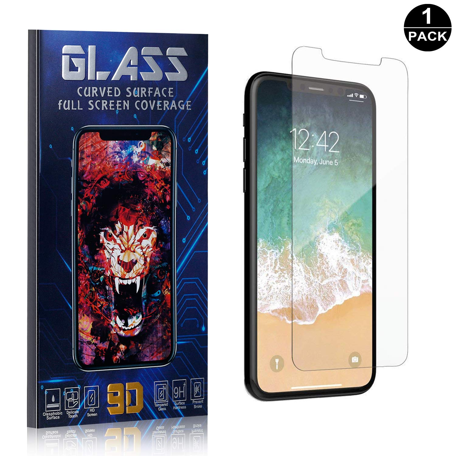 1 Pack Scratch Resistant Ultra Clear Tempered Glass Screen Protector Film for iPhone X//iPhone Xs Bear Village Screen Protector for iPhone X//iPhone Xs