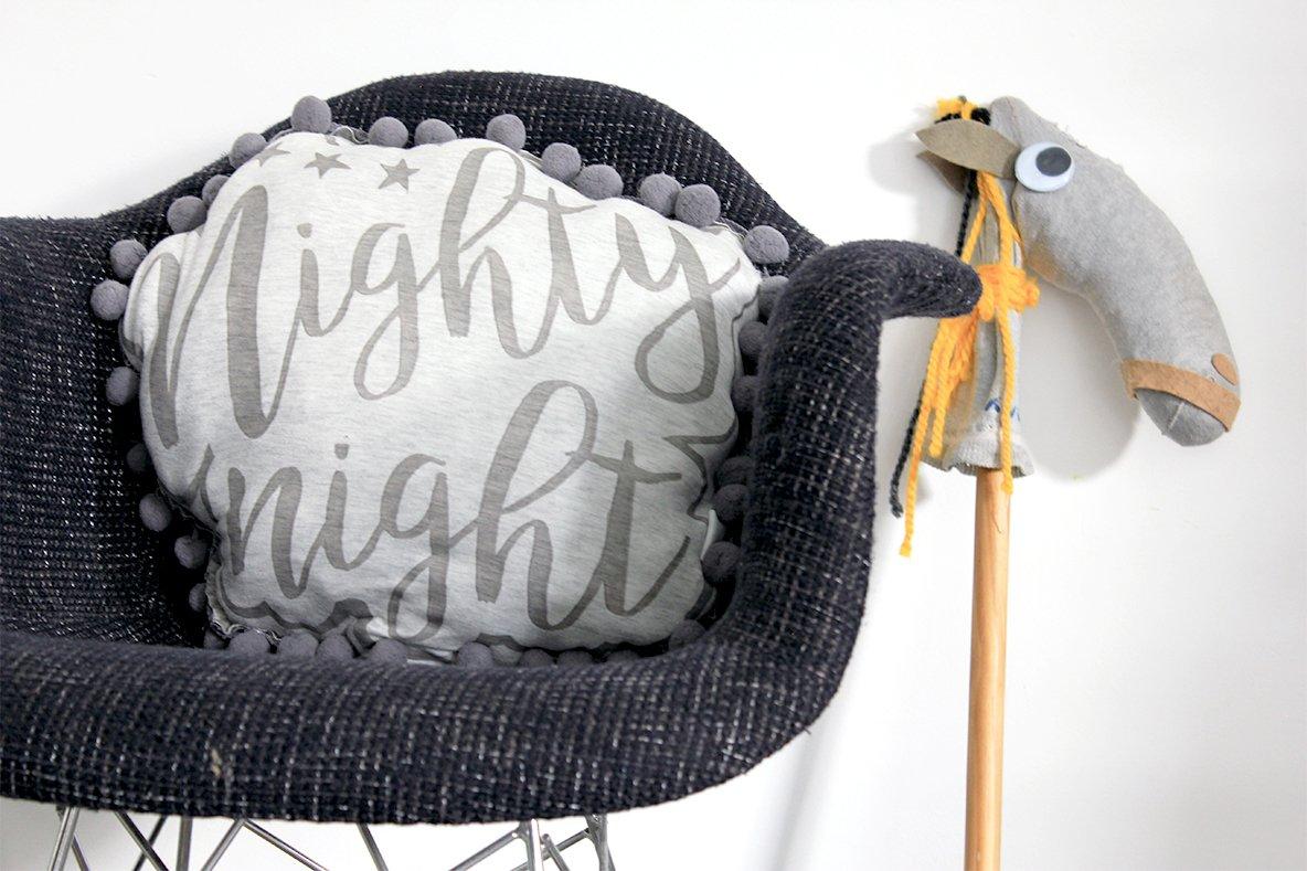 Handmade Nighty Night pillow handmade - Grey, Polyester cluster fiber fill, cotton pillow, Kid's Room textile