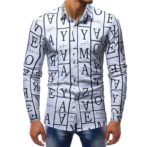 Carta de Moda para Hombre Blusa Estampada Casual Manga Larga Camisas Delgadas Tops por Internet: Amazon.es: Ropa y accesorios
