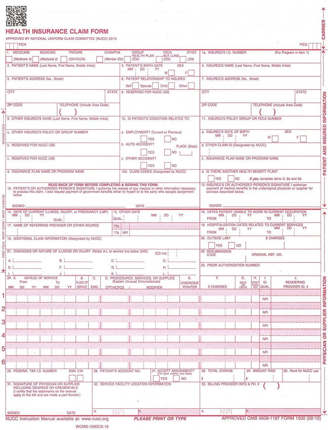 CMS-1500CS-12 Health Insurance Claim Forms
