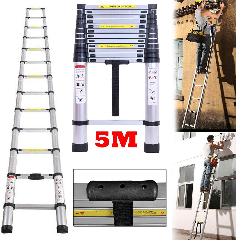 Escalera telescópica de aluminio de 5 m, portátil, plegable ...