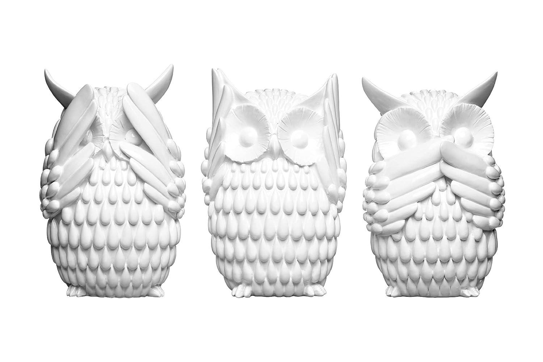Premier Housewares 1410760 Eulen, 3-er Set, weiß Gloss