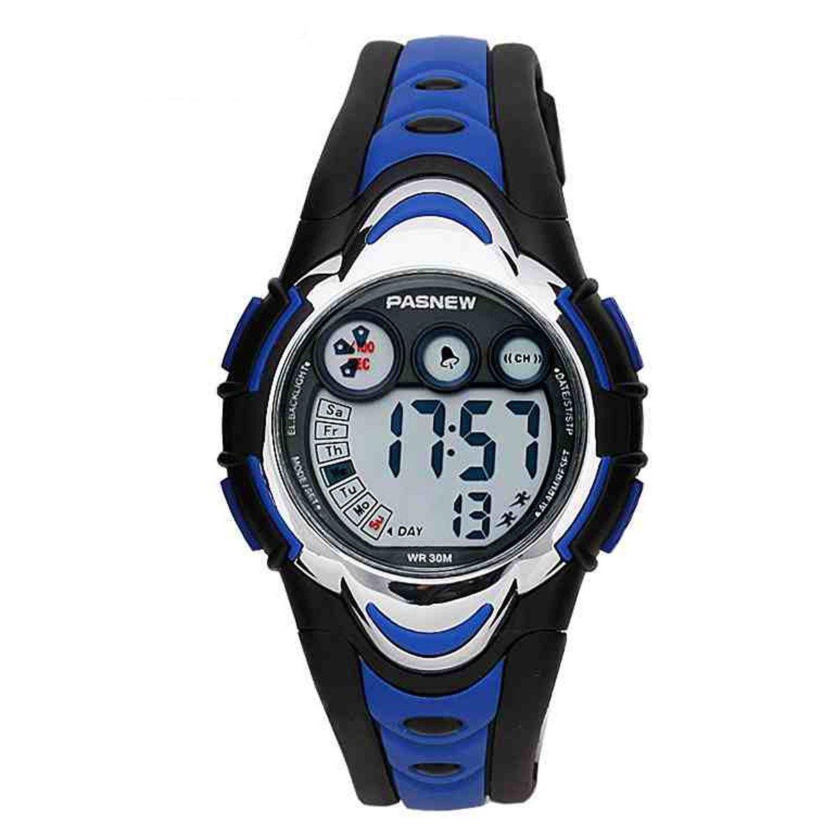 BesWlz Sports Kids LED Digital Alarm Stopwatch Waterproof Wristwatch for Child Boys Girls (Blue)