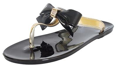 05b4af6ecec1  Bebe Girls   T-Strap Bow and Rhinestone Black Jelly Thong Sandals