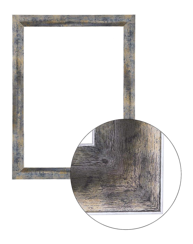 Framo36 Luxus 84 cm x 118 cm MDF Holz Bilderrahmen in Farbe Blau Silber Gold