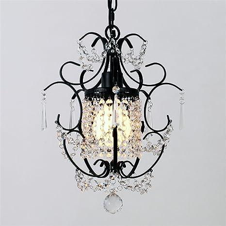 Marca unitaria antiguo negro Metal Cristal único lámpara de ...