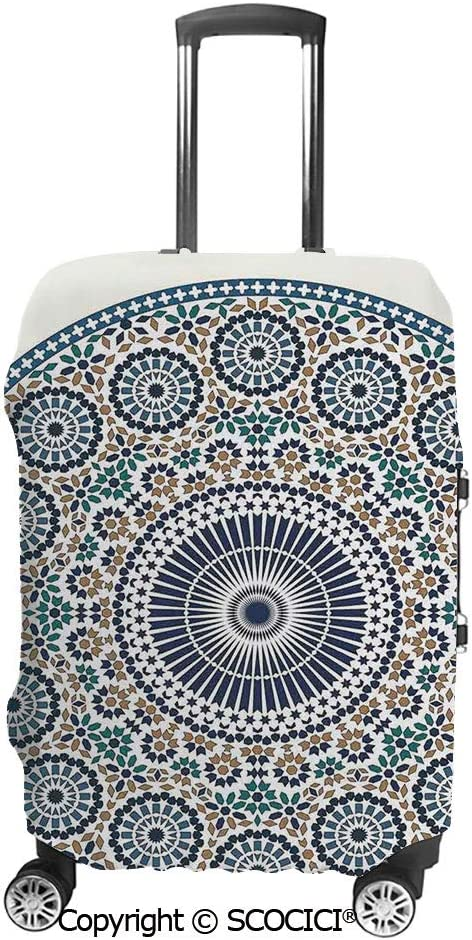 SCOCICI Travel Luggage Cover Suitcase Cover Arabian Art Background with a Group of Traditional Turkish Ottoman Forms Patterns Suitcase Luggage Case Covers Fits 19-32 Inch