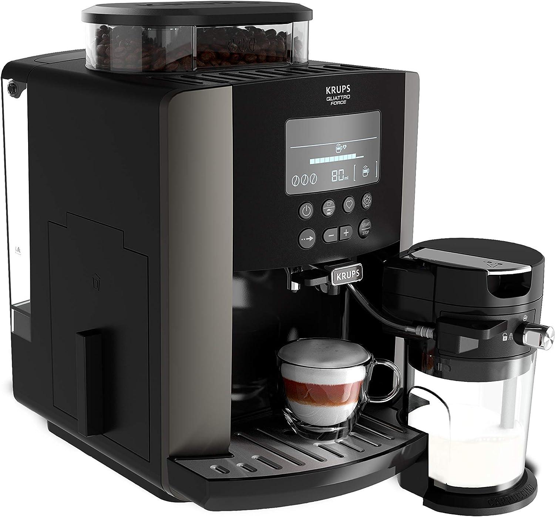 Krups Quattro Force Arabica Latte EA819E - Cafetera Superautomática 15 Bares, Pantalla LCD, Programas de Leche y Personalización Bebidas, Molinillo Metálico Profesional, Modo Limpieza, Jarra Leche: Amazon.es: Hogar