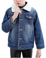 Girl's Blue Denim Shearling Lined Warm Jacket Jeans Fleece Lamb Coat