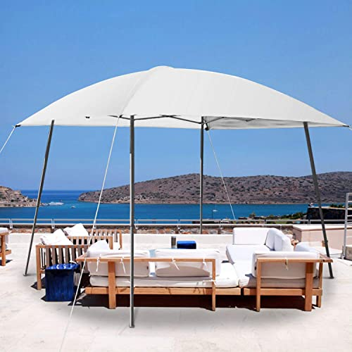 PHI Villa 8 x8 Slant Leg UV Block Sun Shade Canopy with Hardware Kits, Shade for Patio Outdoor Garden Events, White