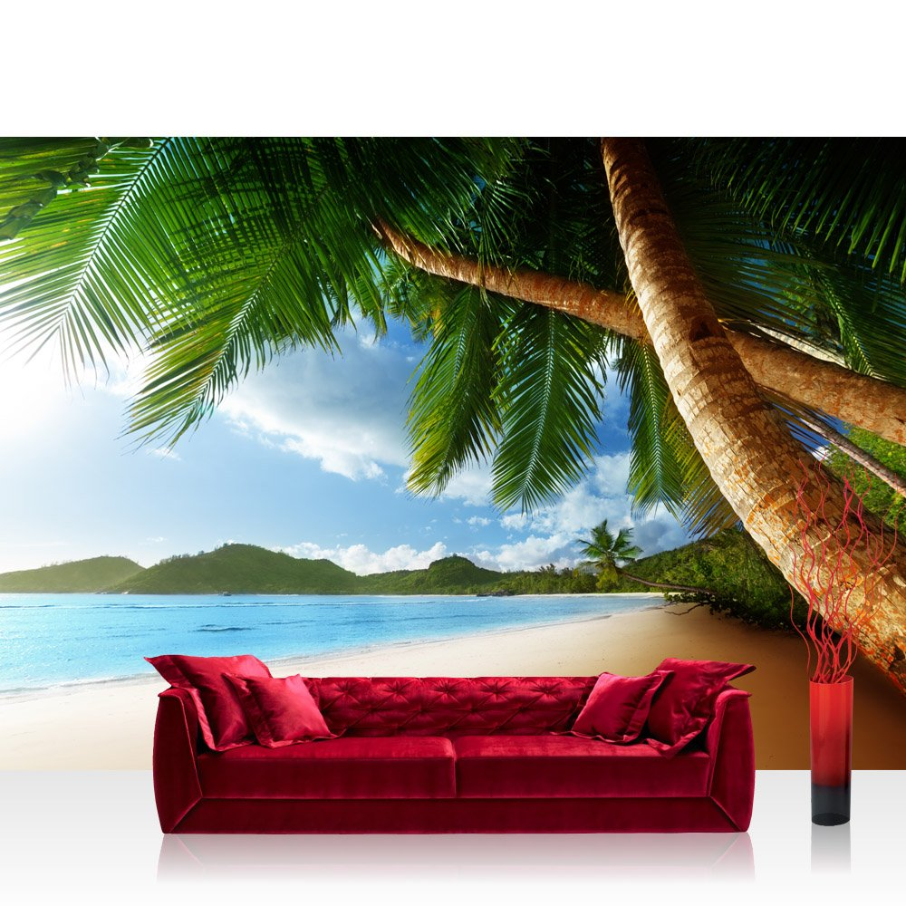 Vlies Fototapete 400x280 cm PREMIUM PLUS Wand Foto Tapete Wand Bild Vliestapete - LONELY BEACH - Strand Meer Palmen Beach 3D Ozean Palme - no. 004
