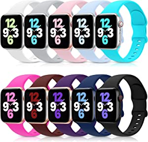 10 Pack Bands Compatible with Apple Watch Band 38mm 40mm 42mm 44mm, Soft Silicone Sport Replacement Strap Compatible with iWatch Series 6 5 4 3 2 1 SE Women Men 42MM/44MM