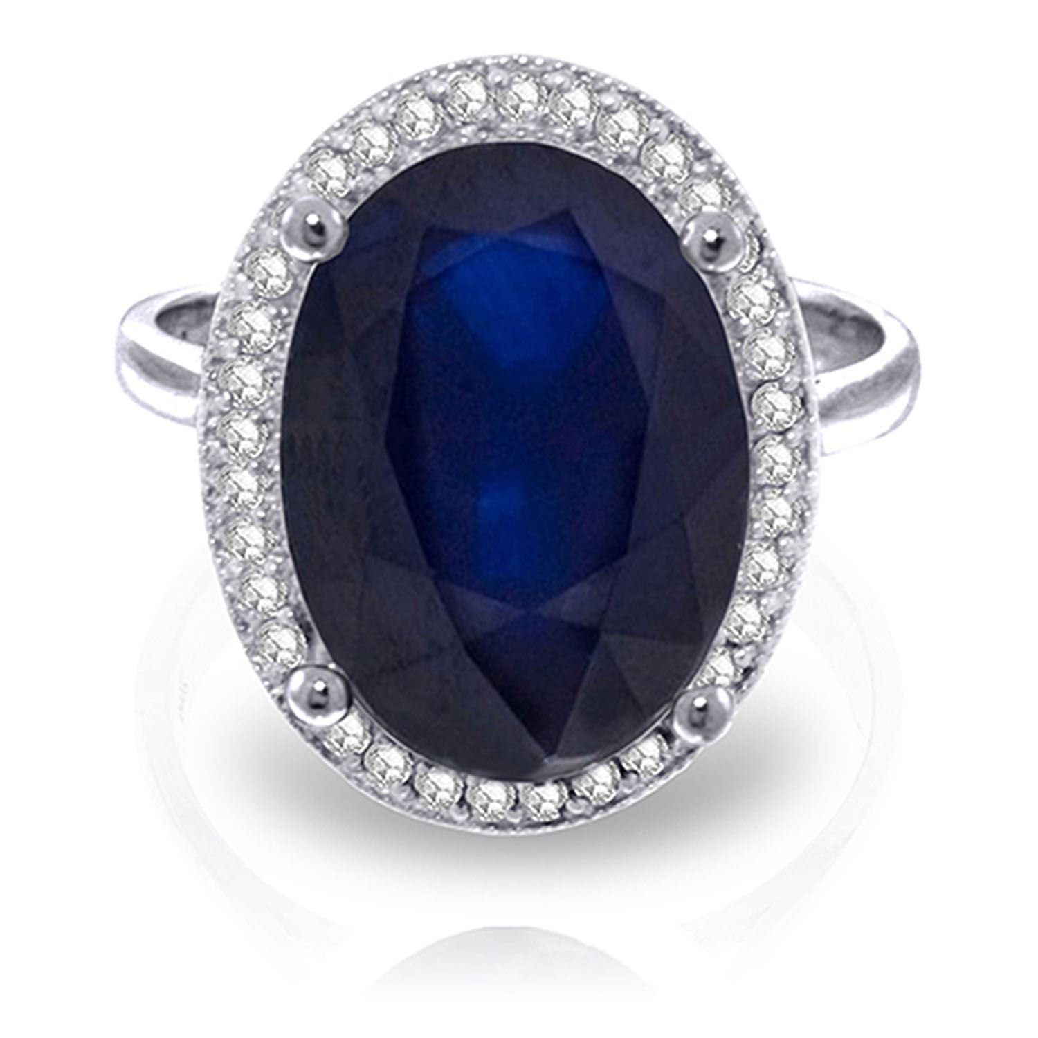 ALARRI 6.58 Carat 14K Solid White Gold Love Is Generous Sapphire Diamond Ring With Ring Size 6
