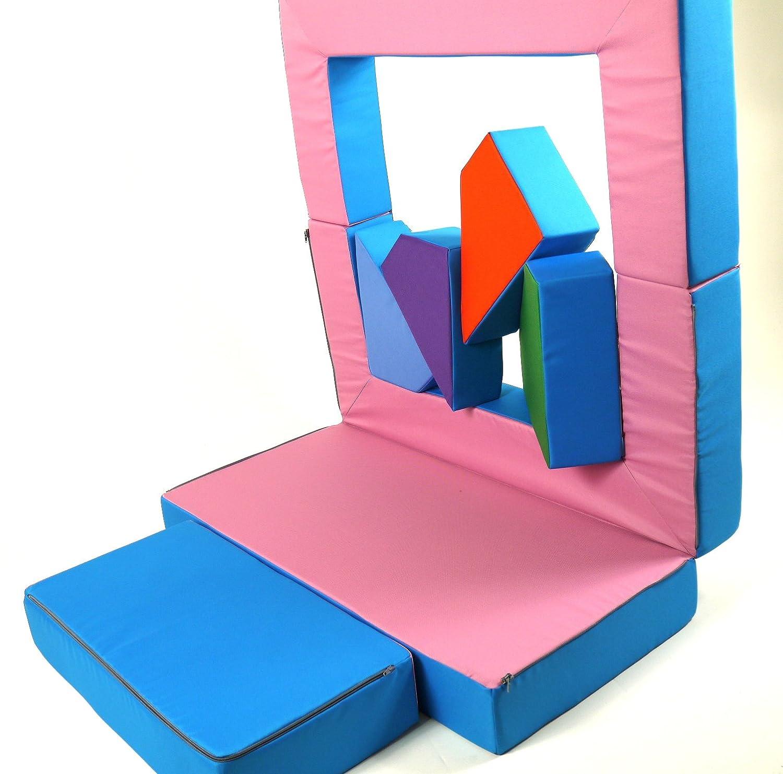 scalesport Parte sof/á 4/in1/Ni/ños sof/á Parte matraze para el Dormitorio Parte Acolchado Soft Sof/á Color Rosa//Claro Puzzle habitaci/ón Sof/á Parte Mesa Muebles Infantiles