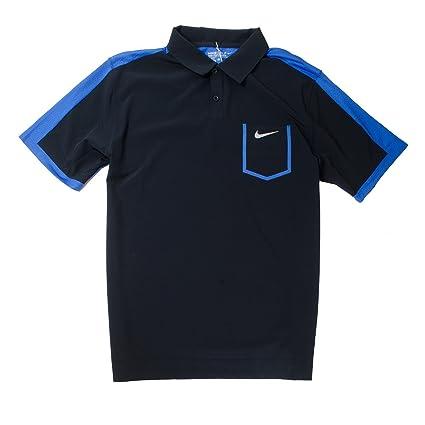 Nike Dri-FIT Golf Tour Polo de Rendimiento (Negro/Azul, M): Amazon ...
