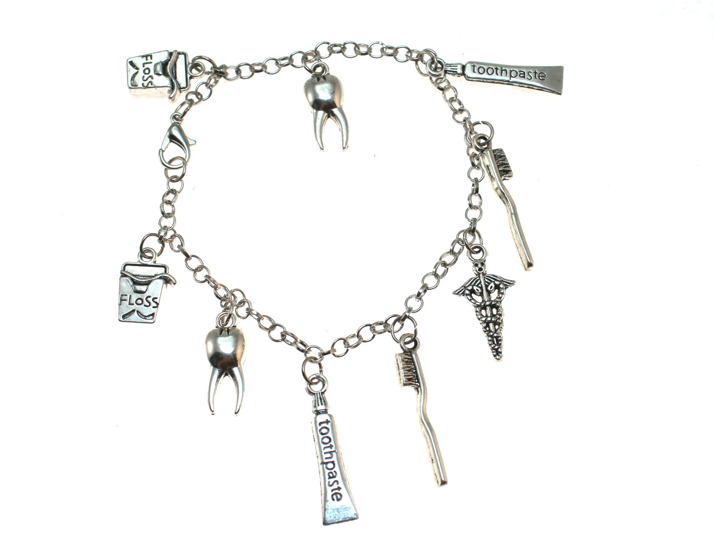 DENTIST or HYGENIST Toothpaste,Tooth Brush, Floss,Caduceus,& Tooth Charm Bracelet.. Gift Boxed