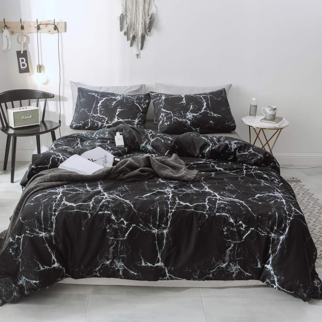 P&Q Duvet Cover Set Premium Soft Cotton Reversible Black Marble Bedding Set for Teen Boys Girls, Quilt Comforter Cover with Hidden Zipper Closure Four Corner Tie Queen Size