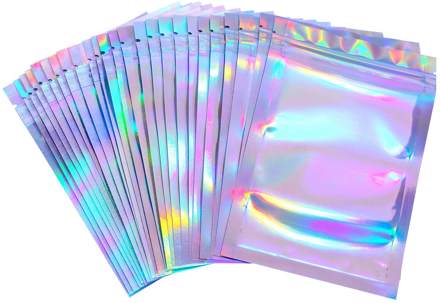 100 Pieces Resealable Smell Proof Bags Foil Pouch Bag Flat Ziplock Bag for Party Favor Food Storage (Holographic Color, 7 x 9 Inches)
