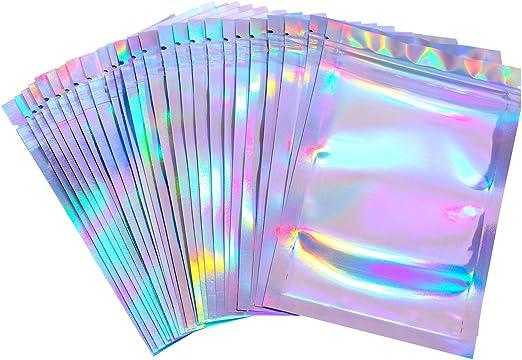 100 pcs Flat Clear Orange Silver Mylar Clear Front Glossy Zip Lock Storage Bags