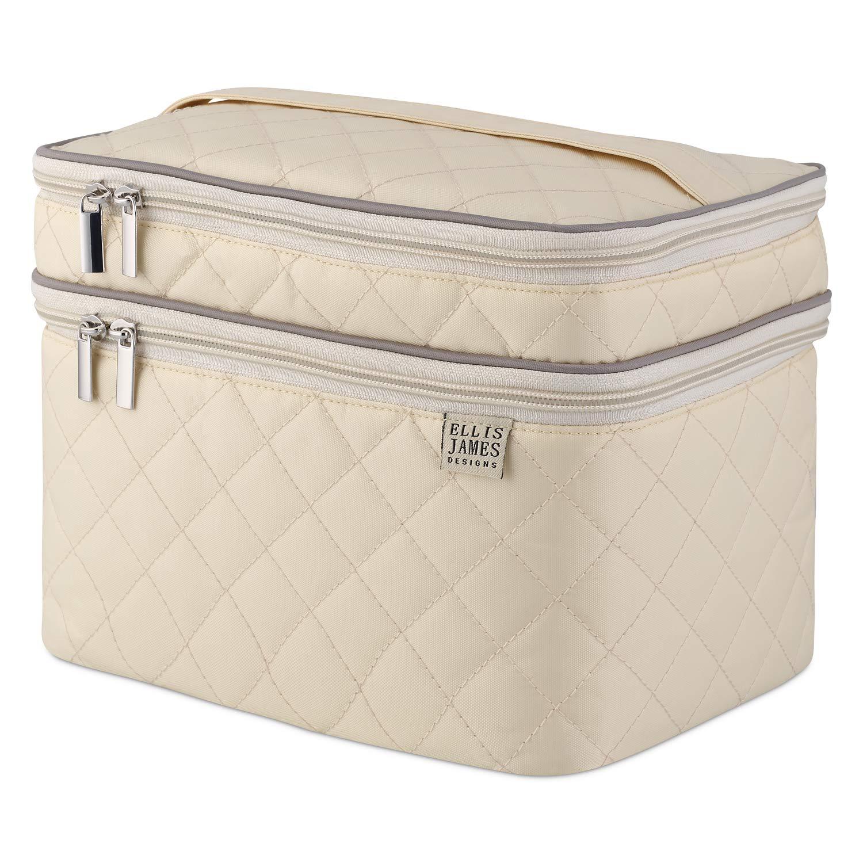 Ellis James Designs Large Travel Makeup Bag for Women - Cream Make Up Bag for Women - Travel Cosmetic Bag - Makeup Case Gifts for Women, Makeup Organizer Bag, Travel Toiletry Bag for Women