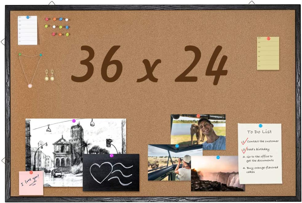 36 x 24 Corkboard with Black Wood Frame, Bulletin Board Wall Mounted Pin Board for Office, Home