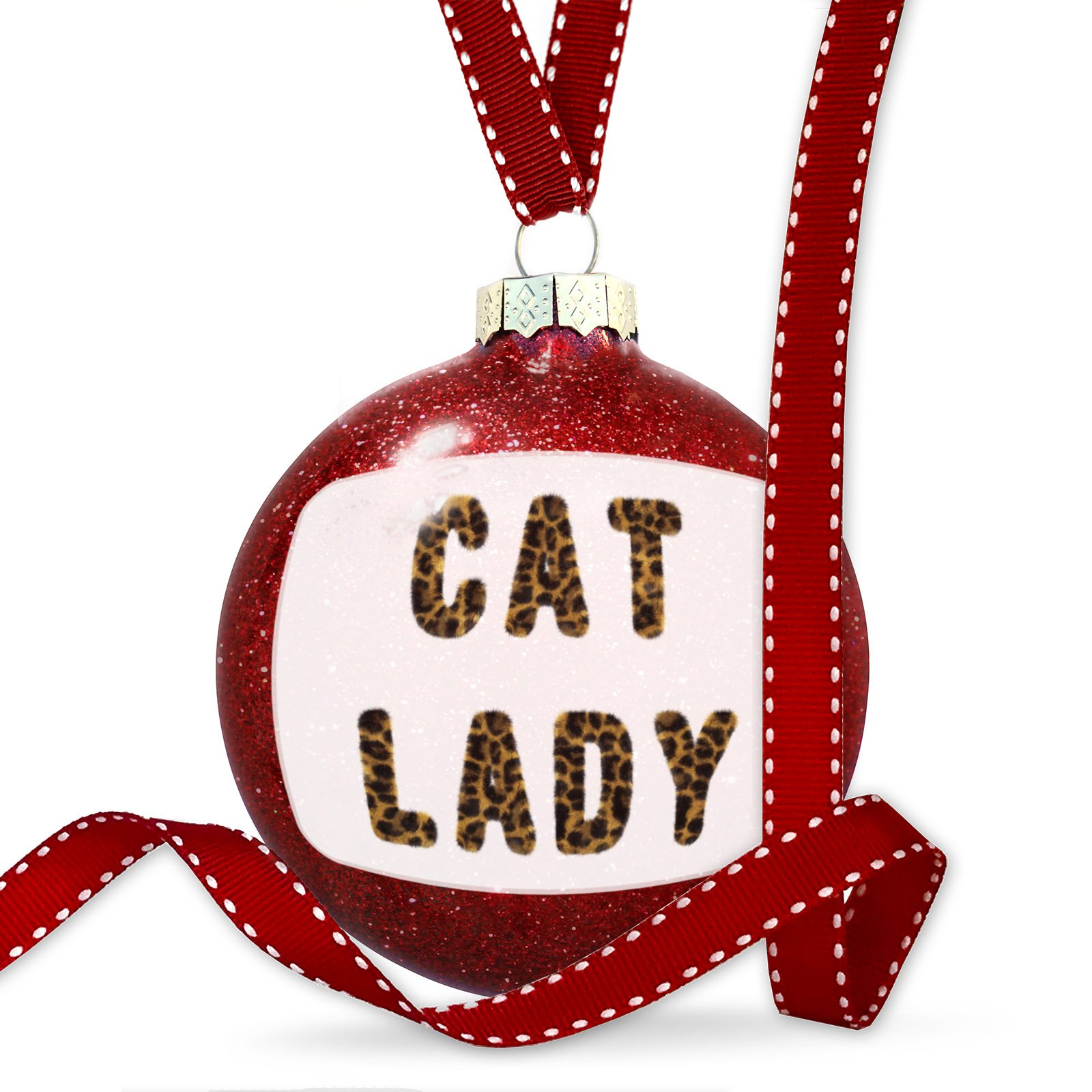 Christmas Decoration Cat Lady Cheetah Cat Animal Print Ornament by NEONBLOND (Image #1)
