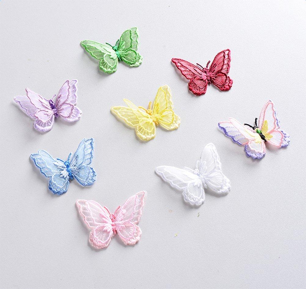 1X Phononey patch brod/é thermocollant en forme de papillon pour bricolage v/êtements robe chapeau jeans sacs /à dos tricot/és blanc 4.5 5CM