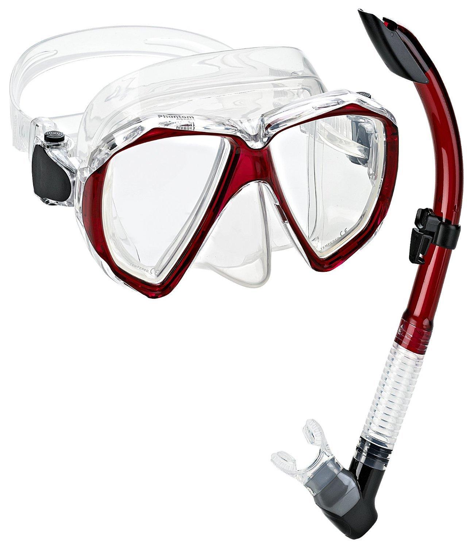 Phantom Aquatics Velocity Scuba Snorkeling Mask Snorkel Set, Red by Phantom Aquatics