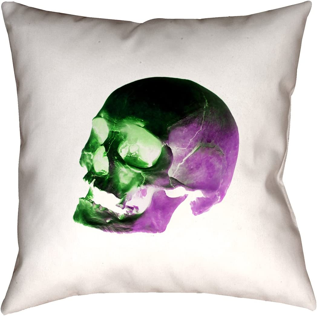 ArtVerse Katelyn Smith 16 x 16 Indoor//Outdoor UV Properties-Waterproof and Mildew Proof Pink Skull Pillow
