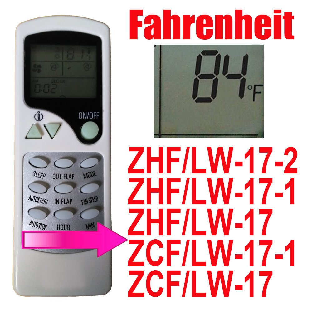 Replacement For Turbo Air Hrrm Air Conditioner Remote Control Model Number: Zhf/Lw-17-1 Zhf/Lw-17 Zcf/Lw-17-1 Zcf/Lw-17 ZHF/LW-17-2 Works For AC Model Tas-18vh Tas-24vh by Generic (Image #1)
