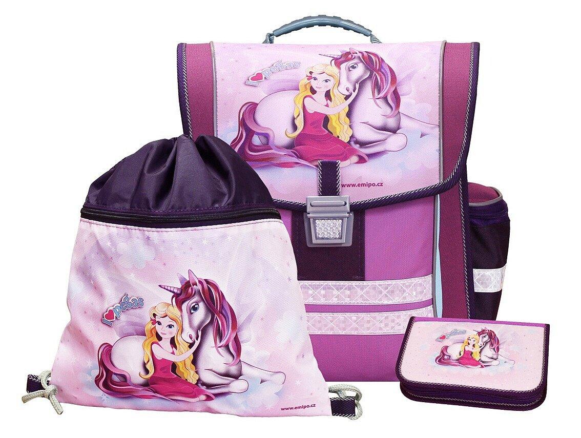 Zauberhafte Schultasche Pegasus mit Federmäppchen und Turnbeutel