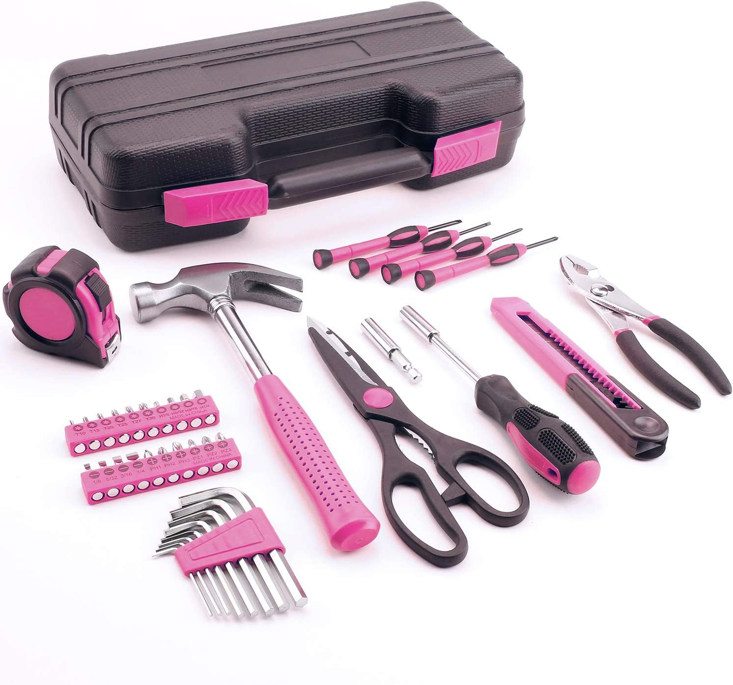 40-Piece All Purpose Household Pink Tool Kit for Girls, Ladies and Women with Carrying Case
