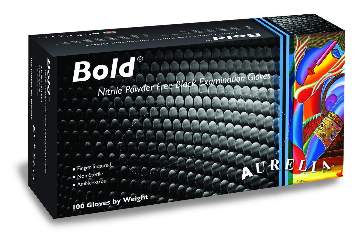 Aurelia Bold, Black Nitrile Gloves, Size: Small, Case of 1000