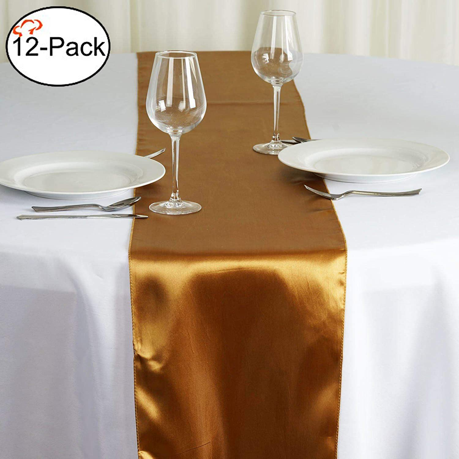 Tiger Chef 12-Pack Deep Gold 12 x 108 inches Long Satin Table Runner for Wedding, Table Runners fit Rectange and Round Table Decorations for Birthday Parties, Banquets, Graduations, Engagements