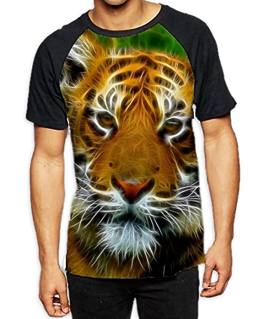 e1764d5a9074 Abstract Tiger Face Men s All Over Print Graphic Contrast Baseball T Shirt  (Small