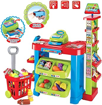 deAO Supermercado Tienda Supermarket Mercado con Carrito de la Compra, Scanner, Caja Registradora y Accesorios Includos: Amazon.es: Juguetes y juegos