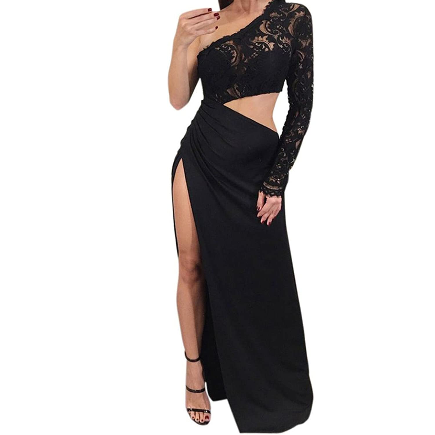 f338c3f0a39 Hey,Pretty Girl! Londony x2764;xFE0F; Women's Fashion Party Night Club Sexy  Lace Backless With Open Side Long Black Dress - Black -: Amazon.co.uk:  Clothing