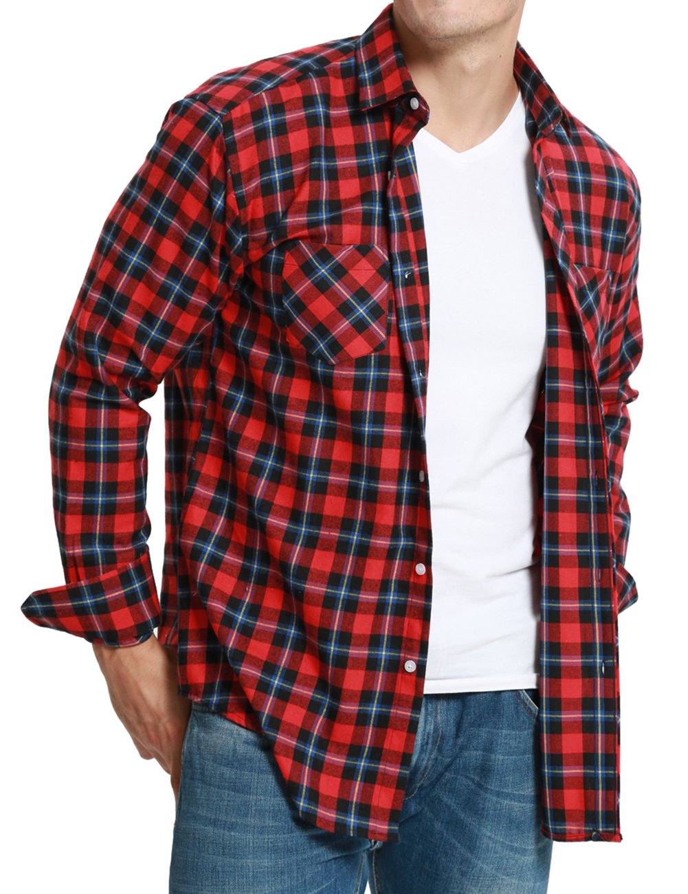 Dioufond Men's Flannel Plaid Long Sleeve Shirts
