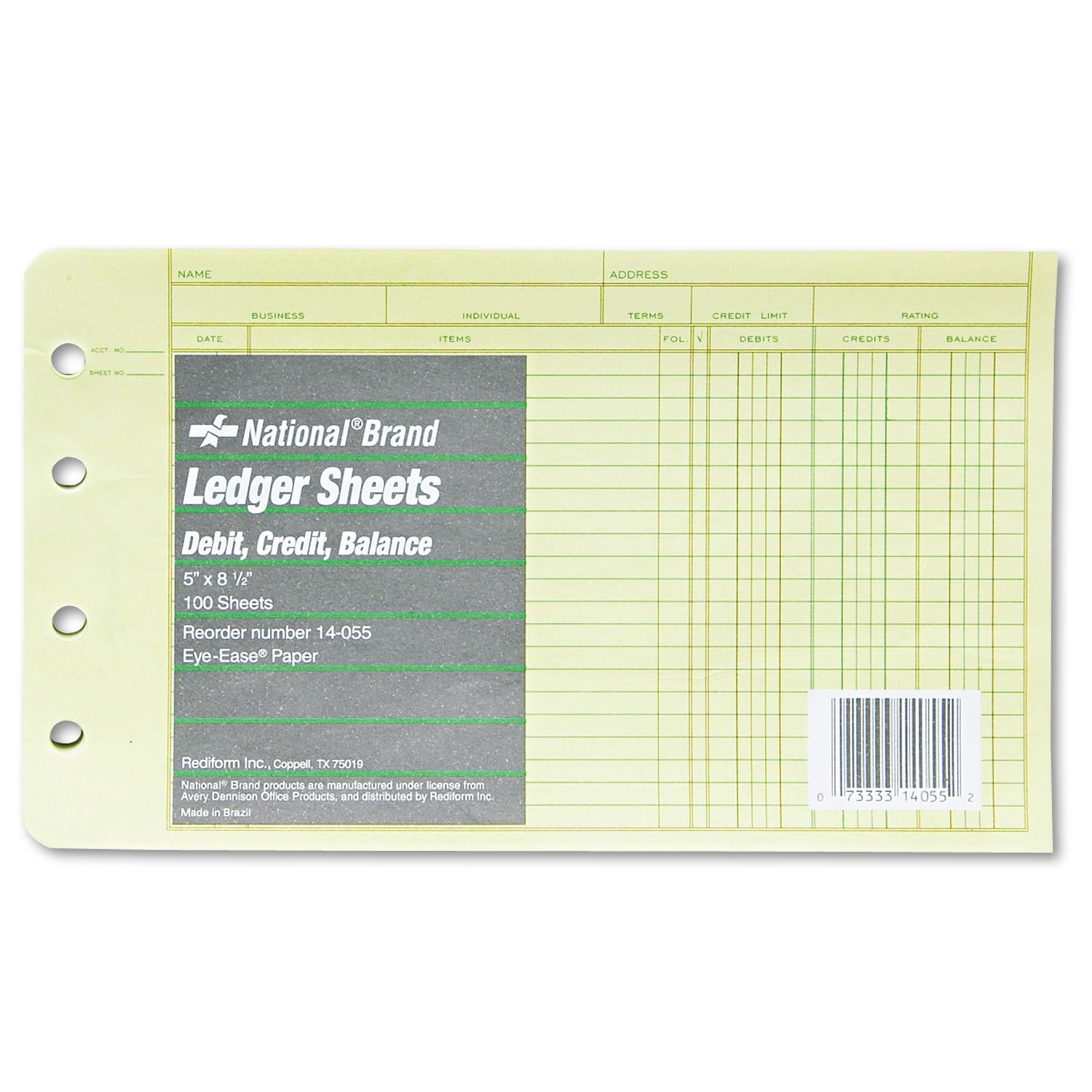 National Brand Products - National Brand - Extra Sheets for 4-Ring Ledger Binder, 8-1/2 x 5-1/2, 100/Pack - Sold As 1 Pack - Designed for accounts payable and accounts receivable with debit, credit and balance columns. - Sheets promote quick and easy acco