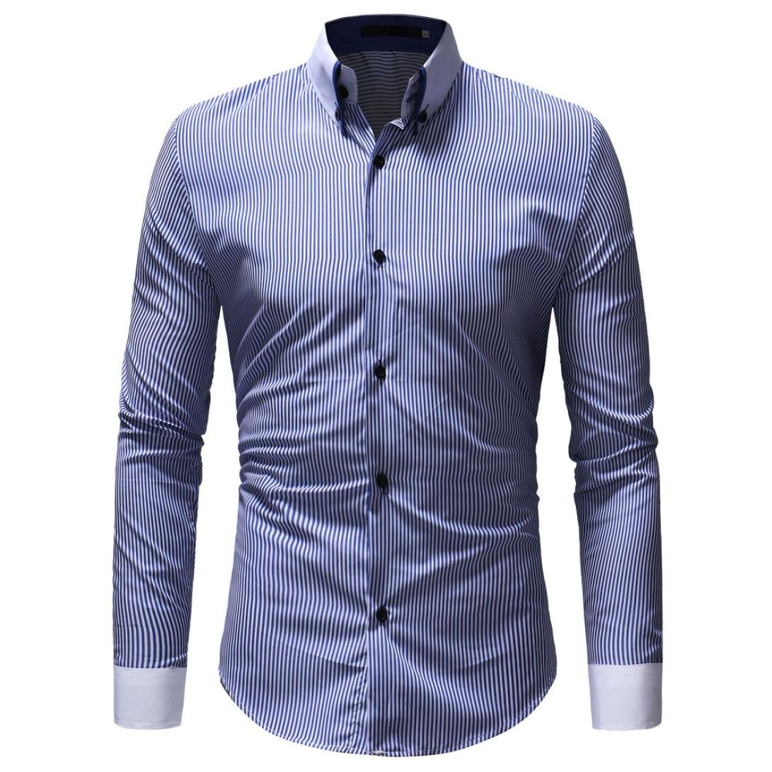HTHJSCO Men's Slim-Fit Long-Sleeve Shirt, Men's Autumn Winter Casual Striped Print Long Sleeve Button T-Shirt Top Blouse (Blue, M)