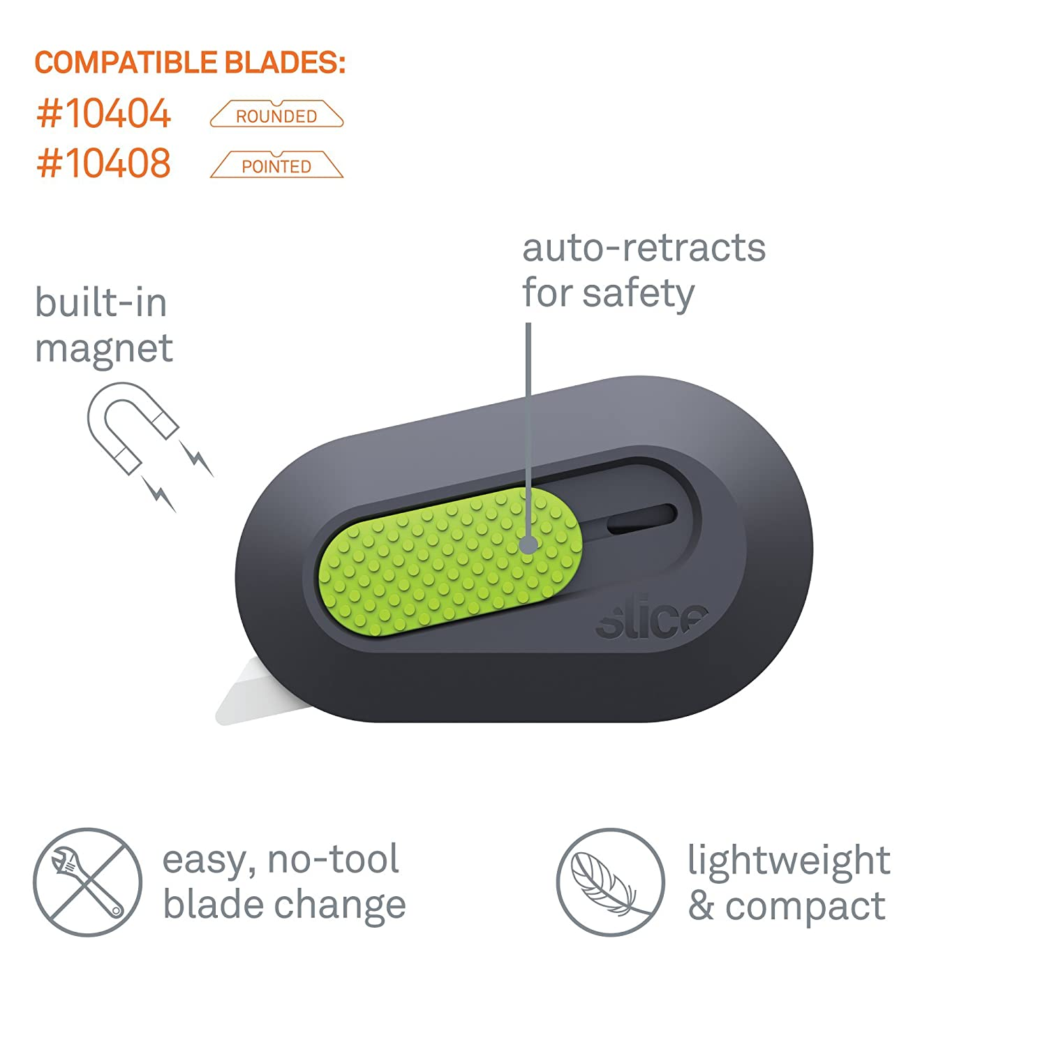 Keychain Box Opener Right or Left Handed Mini Cutter Magnetic Ceramic Blade Locks Into Position Slice 10515 Mini Box Cutter