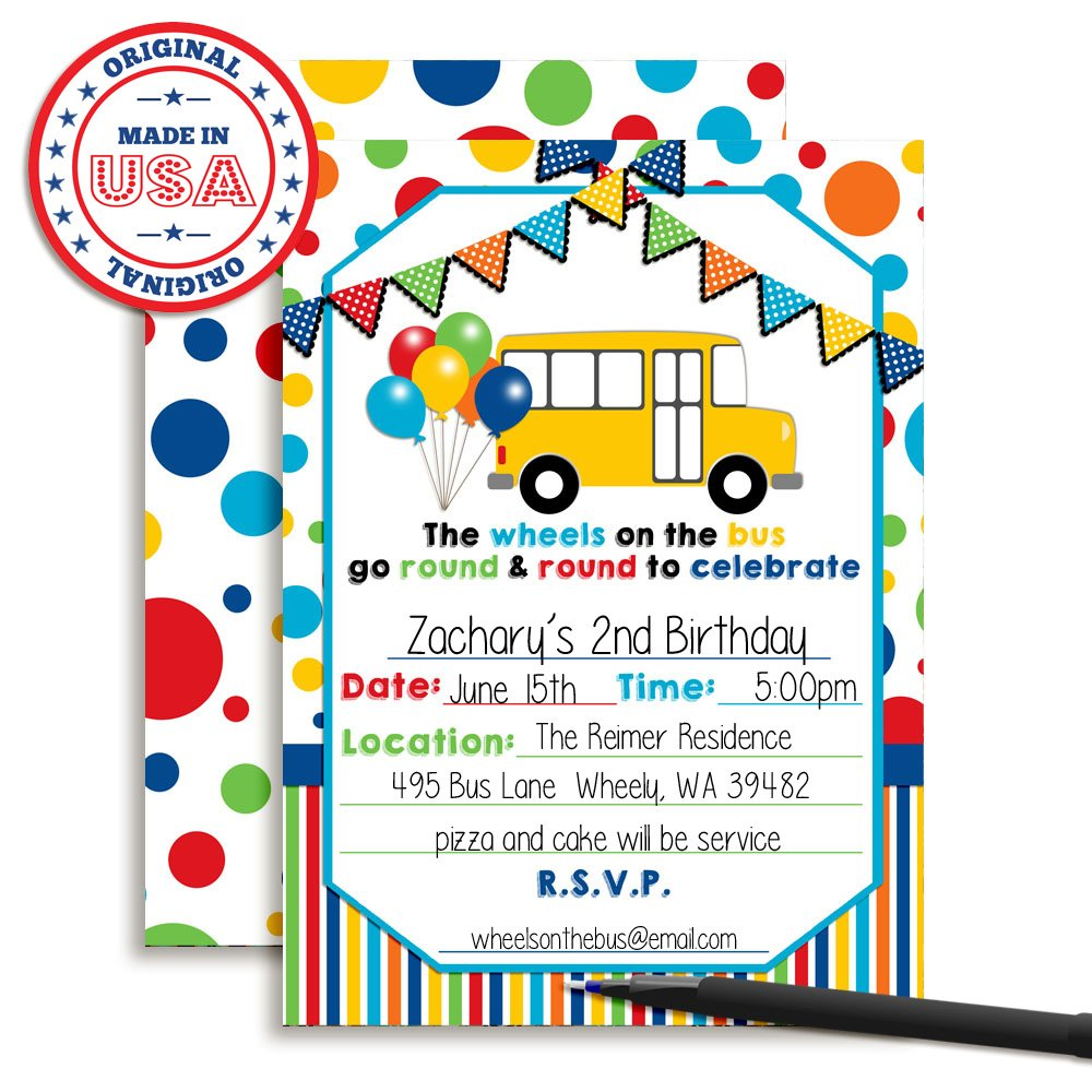 Amazon.com: Wheels on the Bus Themed Birthday Party Fill In ...