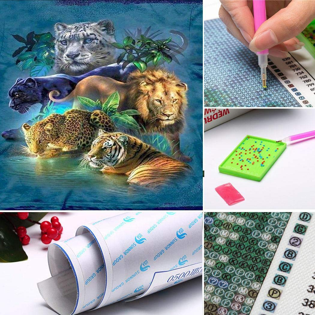 melysUS DIY 5D Diamond Painting Kits Rhinestone Flower Embroidery PaintingCrystals Embroidery Kit Home Wall Decoration Craft (Style 6 Tiger 3040cm)
