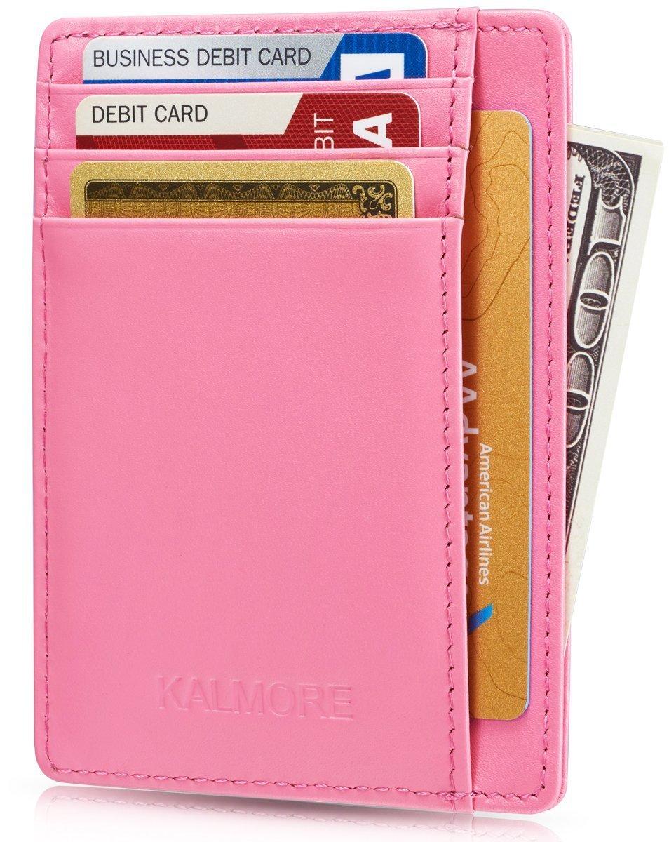 Kalmore Credit Card Holder Genuine Leather Slim & Thin Pocket Wallet Minimalist Wallet Money Clip RFID Blocking