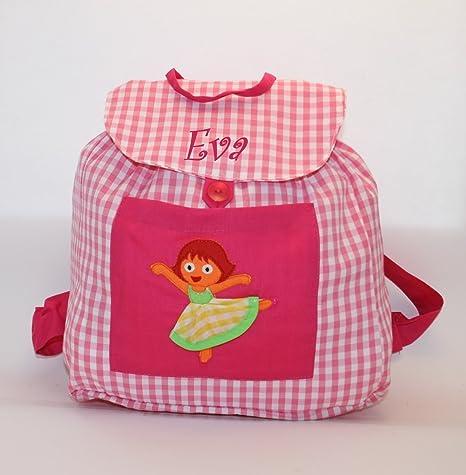Bolsa mochila bailarina, en tela vichy cuadros rosas y blancos, personalizada con nombre.