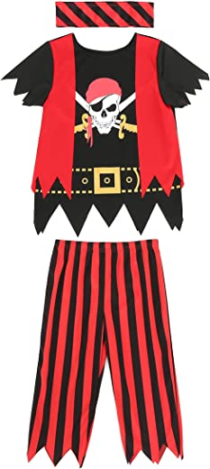 Boys Girls Pirate Costume 3pcs Set for Size 3-4,5-6,7-8,8-10(5-6years)