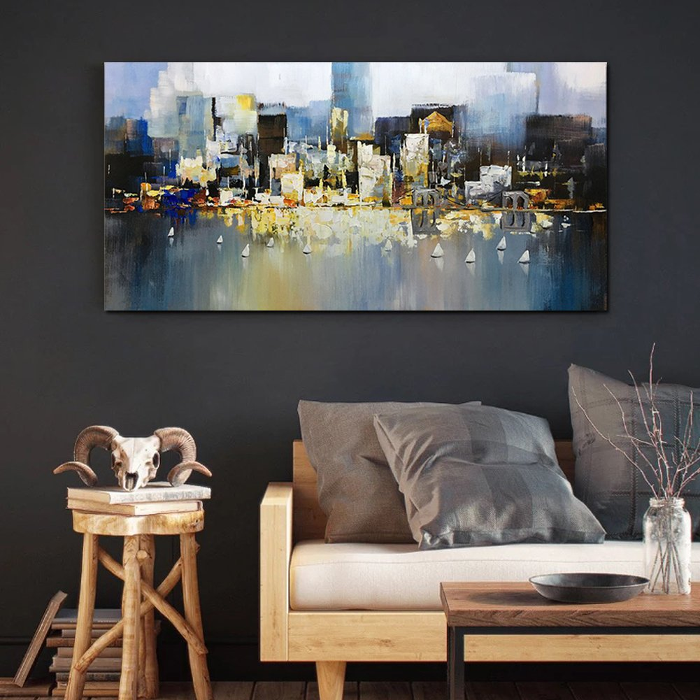 Metuu Modern Canvas Paintings, City Lights Up - Texture Palette Knife Paintings Modern Home Decor Wall Art Painting Wood Inside Framed Ready to hang 24x48inch by Metuu (Image #6)