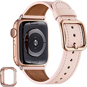 MNBVCXZ Compatible with Apple Watch Band 38mm 40mm 42mm 44mm Women Men Girls Boys Genuine Leather Replacement Strap for iWatch Series 6 5 4 3 2 1 iWatch SE (Pink Sand/Rose gold, 38mm 40mm)