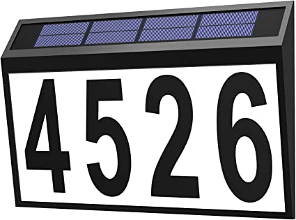 Stainless Steel Solar Powered House Door Number Light 4 LED Wall Plaque Light