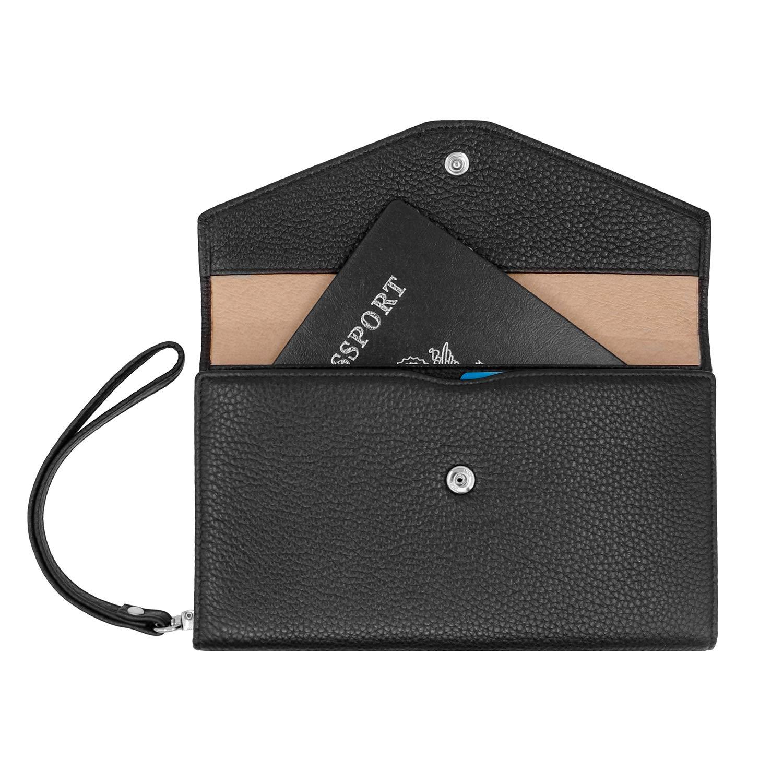 Card Organizer RFID vera pelle Blocco Portafoglio passaporto di viaggio Arancione